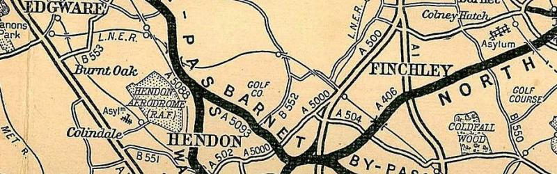The Barnet Bypass in the early 1930s with its entirely bizarre four-digit numbers. The A1 still runs through Finchley. Click to enlarge