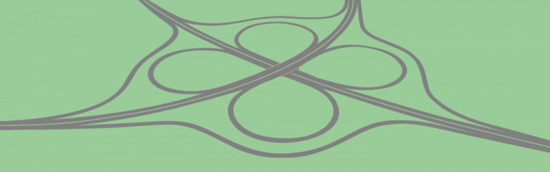 Drawing of a cloverleaf, based on Headless Cross Interchange in Redditch. Click to enlarge