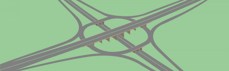Drawing of a three-level stacked roundabout, based on Simister Interchange near Manchester. Click to enlarge