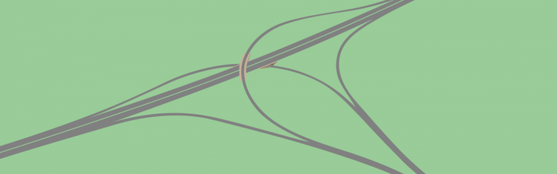 Drawing of a triangle junction, based on Craigton Interchange near Glasgow. Click to enlarge