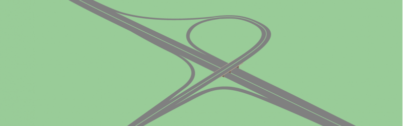 Drawing of a trumpet, based on Edithmead Interchange near Weston-super-Mare. Click to enlarge