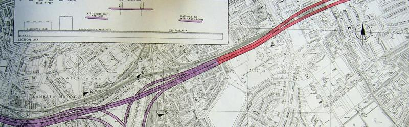 "An engineering plan for the South Cross Route in Brixton and Denmark Hill, dated 1965. Four years later the GLC would still be informing residents there was ""no firm route"" for this road. Click to enlarge"