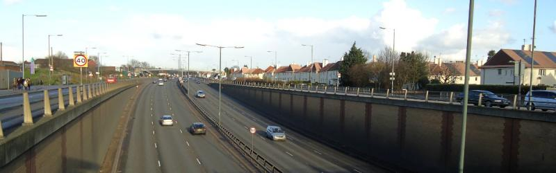 The A406 North Circular Road at Stonebridge Park was widened and grade-separated as part of an aborted major programme of urban road improvements in London in the 1980s and 1990s. Click to enlarge