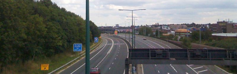 The M1 today, just north of its terminus at junction 1. Click to enlarge
