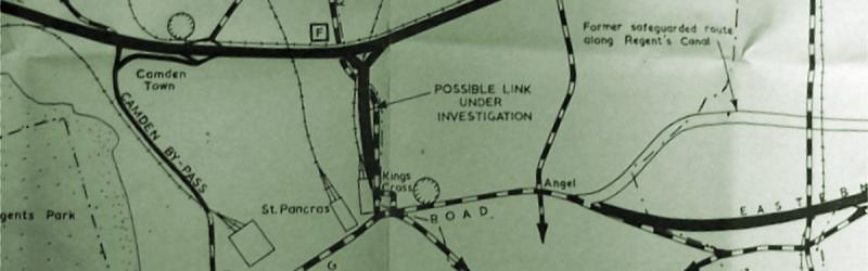 "A 1967 GLC plan shows a ""possible link"" from the North Cross Route to Kings Cross. Click to enlarge"
