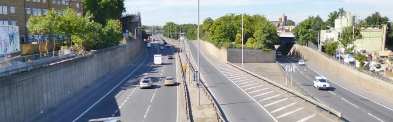 The tiny existing part of the North Cross Route at Hackney Wick, seen in the middle of the picture between the two main carriageways. Click to enlarge