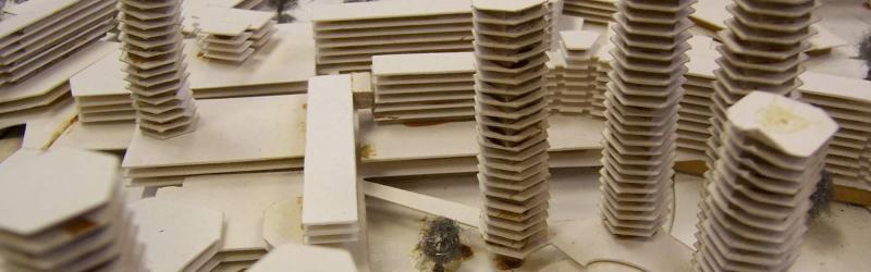 Architect's model of the Brixton Redevelopment Plan, with some of the hexagonal tower blocks and (in the full size picture) Ringway 1 visible to the rear. Click to enlarge