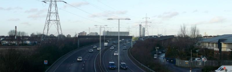 The A406 at Barking, opened in 1989 but a clear descendant of earlier plans for the M15 and Ringway 2 . Click to enlarge