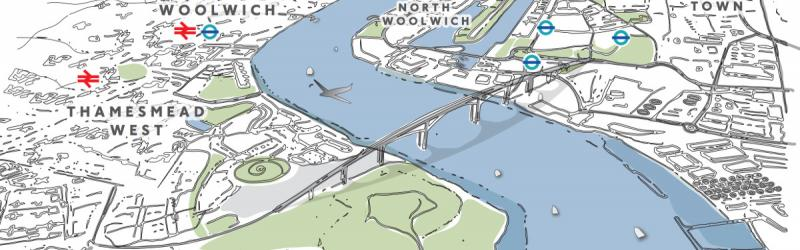 Artist's impression of a bridge at Gallions Reach, as proposed in 2014. Click to enlarge