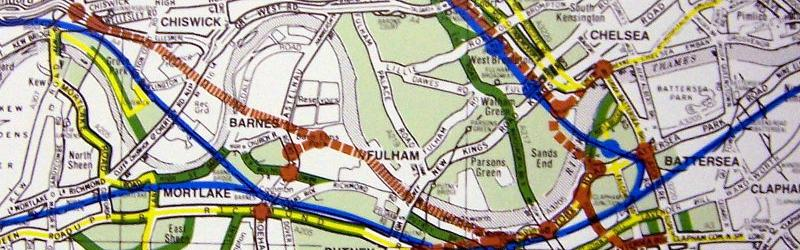Ringway 2 on the sly? A 1988 diagram showing a new route from Chiswick to Wandsworth in brown. Click to enlarge