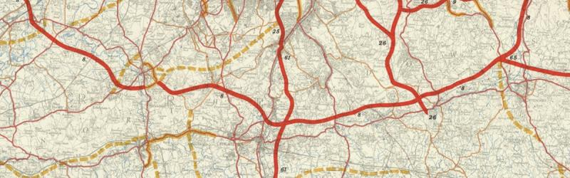 Bressey's South Orbital Road, recognisably the origin of the modern M25. Click to enlarge
