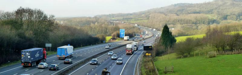 The M25 South Orbital Road near Godstone, with the scenic North Downs beyond. Click to enlarge