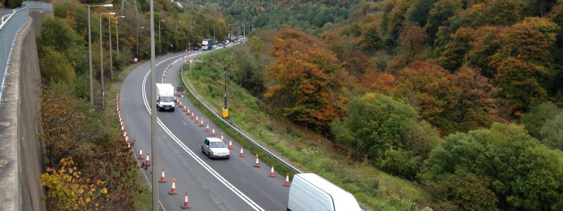 The A465 in the Clydach Gorge at the start of the present upgrade work. Click to enlarge