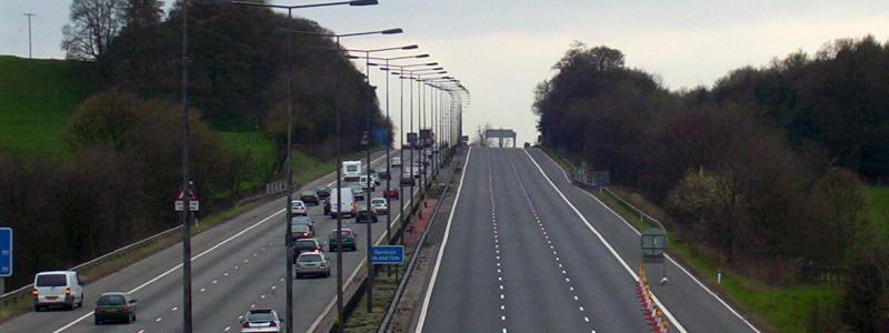 A closed motorway awaiting re-opening. Click to enlarge