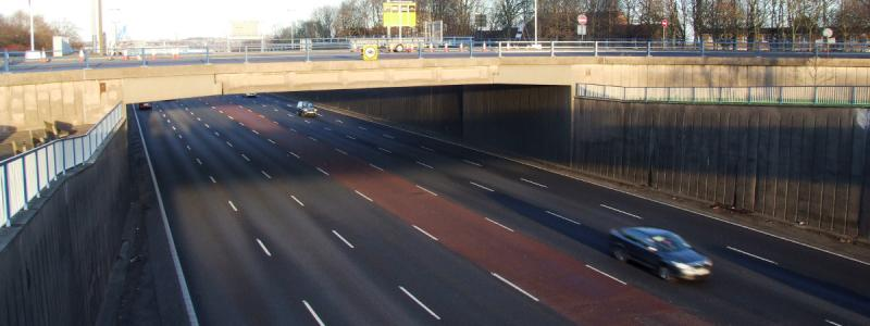 The A38(M) Aston Expressway, with at least three lanes each way and sometimes more. Click to enlarge
