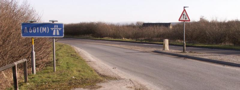 The eastern terminus of the A601(M), on a B-road just outside Carnforth. Click to enlarge