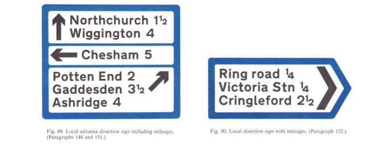 Local direction signs specified in the 1964 Worboys Report. Even the example destinations are identical to those used for pre-Worboys signs. Click to enlarge