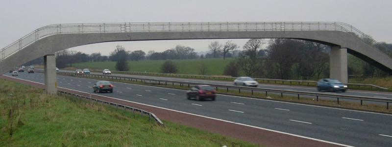 Will work need to be done on other footbridges with joints above the carriageway and beams that could be pushed out sideways, like this one on the M6? Click to enlarge