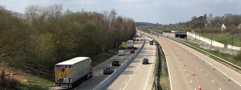 The M20 at Harrietsham on Tuesday 26 March, with the Operation Brock contraflow in operation. Click to enlarge