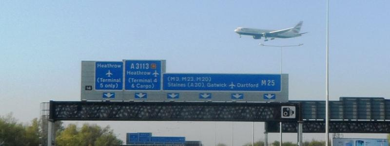 Six lanes side by side on the M25 near Heathrow - but just one hard shoulder on each side. Click to enlarge
