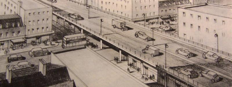 Artist's impression of the Arterial A-Ring after redevelopment, with shops below and surrounding buildings aligned with the new road. Click to enlarge