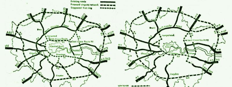 The original motorway network (left) and the slightly reduced network proposed by the GLC Conservatives in 1972. The diagram is from a local newspaper in Croydon, where the change received the widest coverage. Click to enlarge