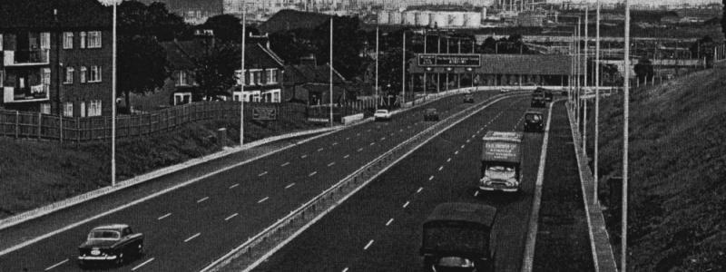 The A102(M) Blackwall Tunnel Southern Approach shortly after opening circa 1967. Note the vanishing hard shoulder on the left. Click to enlarge