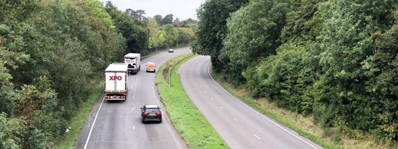 The A1170 Dinant Link Road at Hoddesdon, a little glimpse of North Orbital Road. Click to enlarge