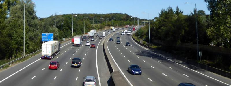 The M25 at Chorleywood, built as part of the North Orbital Road and since widened to carry four lanes instead of three. Click to enlarge