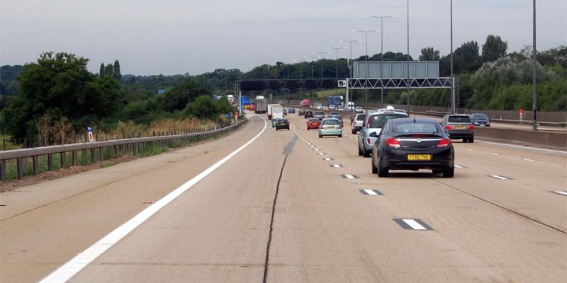 "The M25 in Surrey, with a surface it would be charitable to call ""awful"". Click to enlarge"