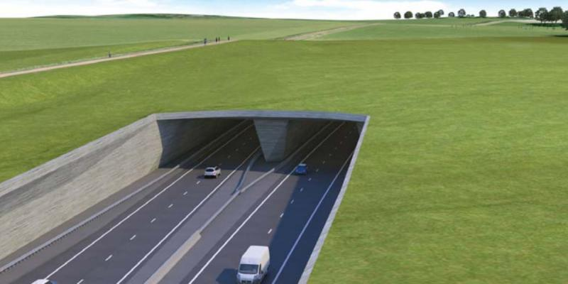 Artist's impression of the proposed A303 Stonehenge Tunnel, now fully funded under RIS2. Click to enlarge