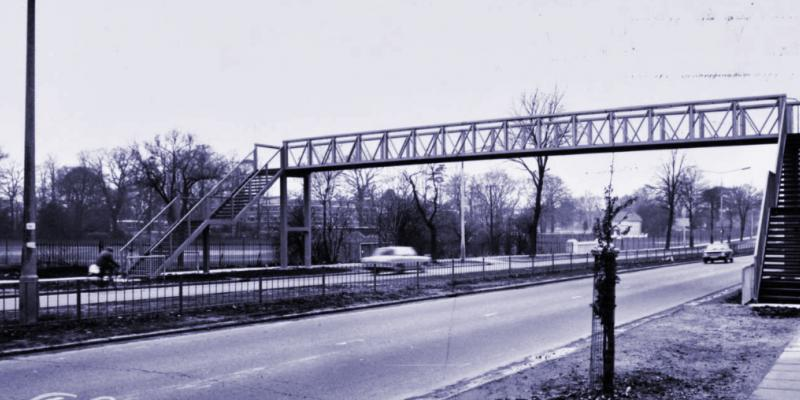 A newly-installed footbridge over the A10 Great Cambridge Road near Enfield in 1970. Click to enlarge
