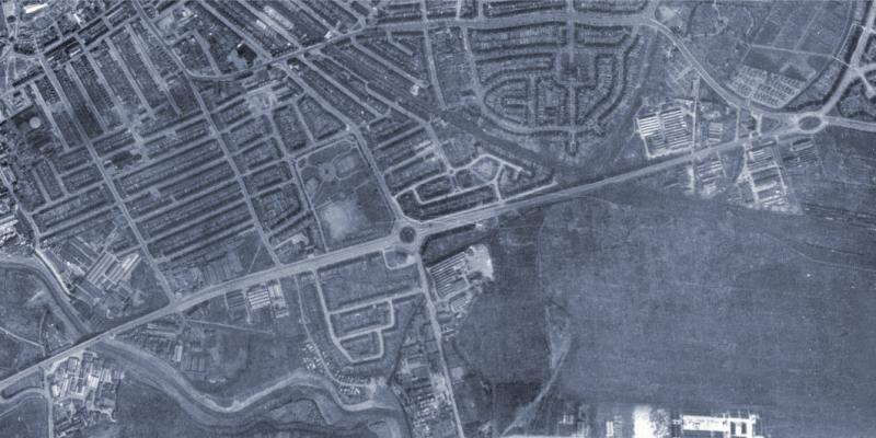 The East Ham and Barking Bypass, seen in a 1945 aerial survey. Suburban development has already nearly enclosed it, and just 20 years later the MOT was proposing to bypass this length again. Click to enlarge