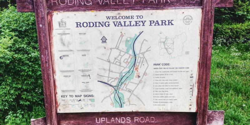 A map of Roding Valley Park, which is threaded through the incomplete Woodford Interchange. Click to enlarge