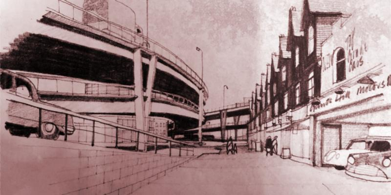 An artists' impression of the double-deck Y-shaped flyover at Gants Hill, seen from the A1400 Woodford Avenue. Click to enlarge