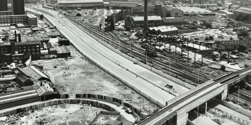 The West Cross Route shortly before opening, showing its original configuration with three lanes plus hard shoulder. Click to enlarge