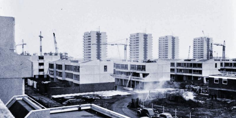 Thamesmead under construction, 1969, with the architectural style of its early phases clearly evident. Click to enlarge