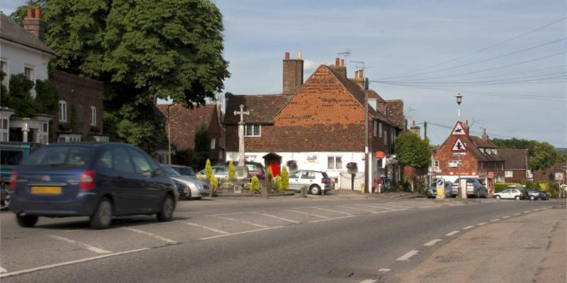 The A25 at Bletchingley, one of the Surrey villages hoping for relief from heavy traffic. Click to enlarge