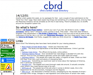 CBRD as it appeared in 2001, complete with road sign navigation buttons. Click to enlarge