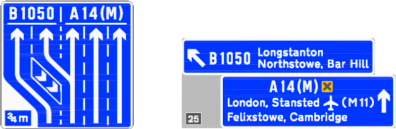 Examples of blue signs for the A14(M), produced by Highways England to illustrate the proposal