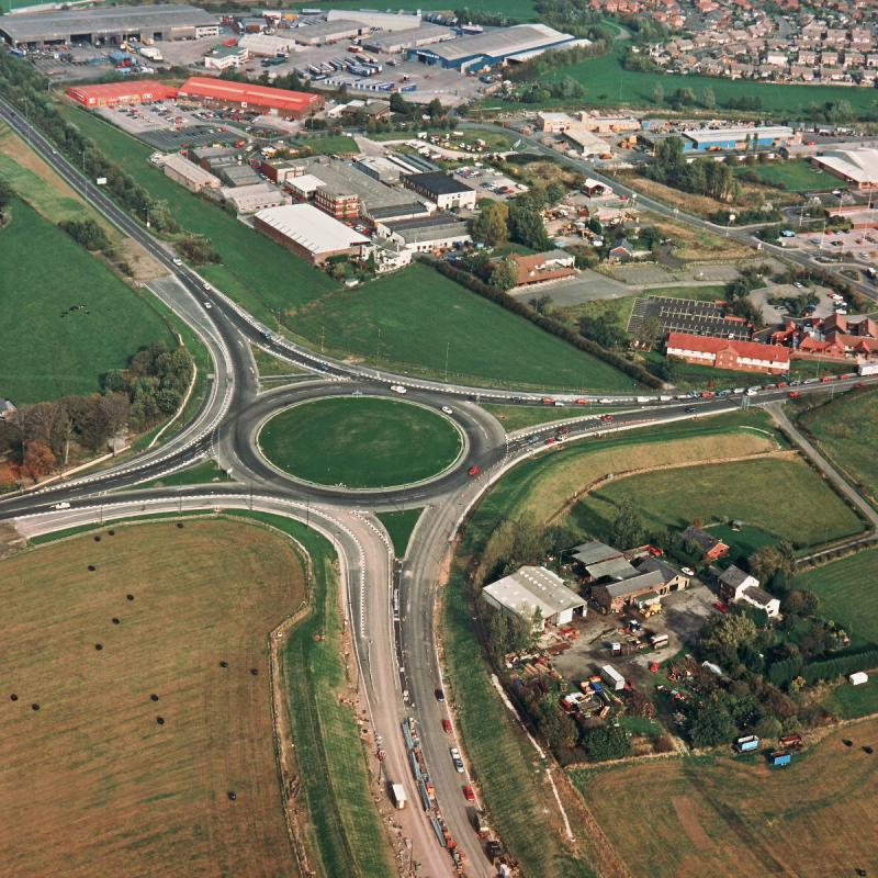 Bamber Bridge roundabout, view north