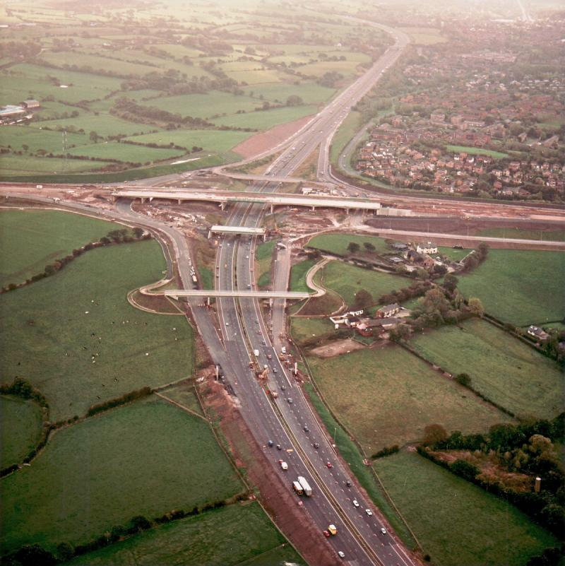 M61 interchange and Brindle Road overbridge, view south