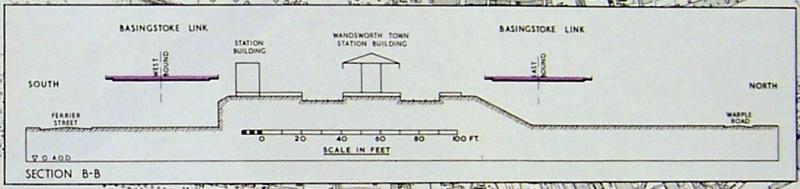 "An elevation plan dated February 1965, showing an early plan to run the motorway either side of Wandsworth Town station, which labels it the ""Basingstoke Link"". Click to enlarge"